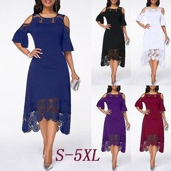 Summer Autumn Dress Women 2019 Casual Plus Size Slim White Lace Maxi Dresses Elegant Vintage Sexy Off Shoulder Long Party Dress 6