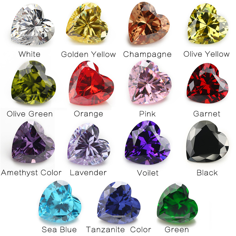 1 pces por cores total 15 pces tamanho 4x4mm ~ 10x10mm coração forma solta zircônia cúbica pedra