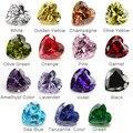 1PCS Per Colors Total 15pcs Size 4x4mm ~ 10x10mm Heart Shape Loose Cubic Zirconia Stone