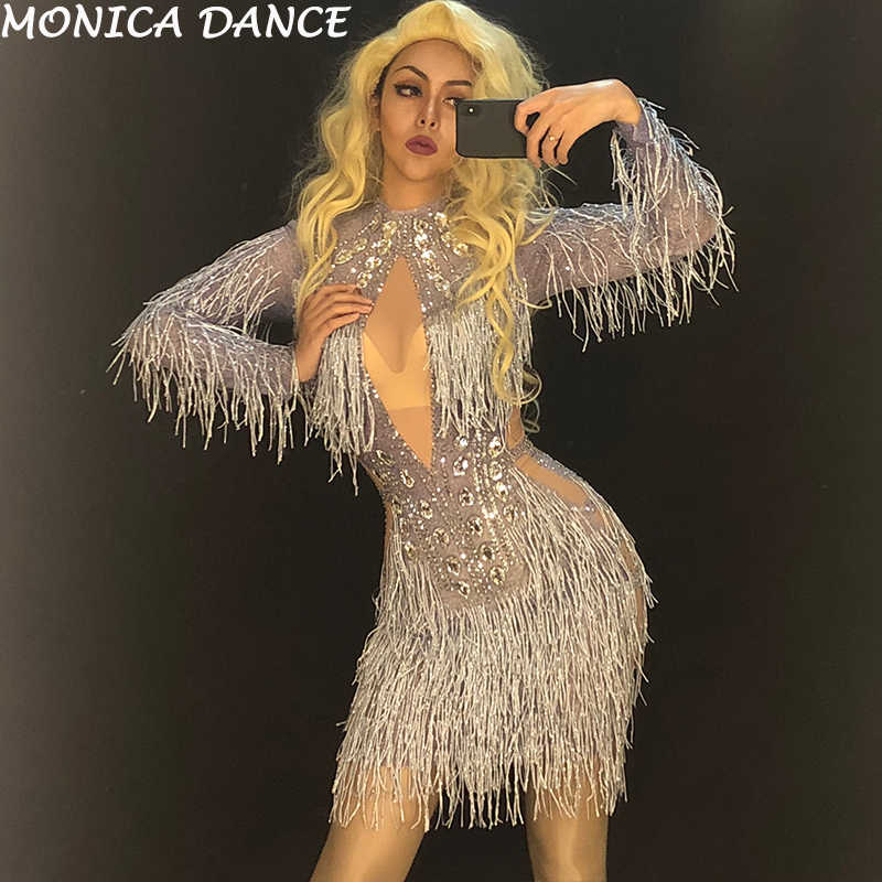 d1564e7835 Women Sexy Net Yarn Short Dress Silver Tassel Sparkling Crystals ...