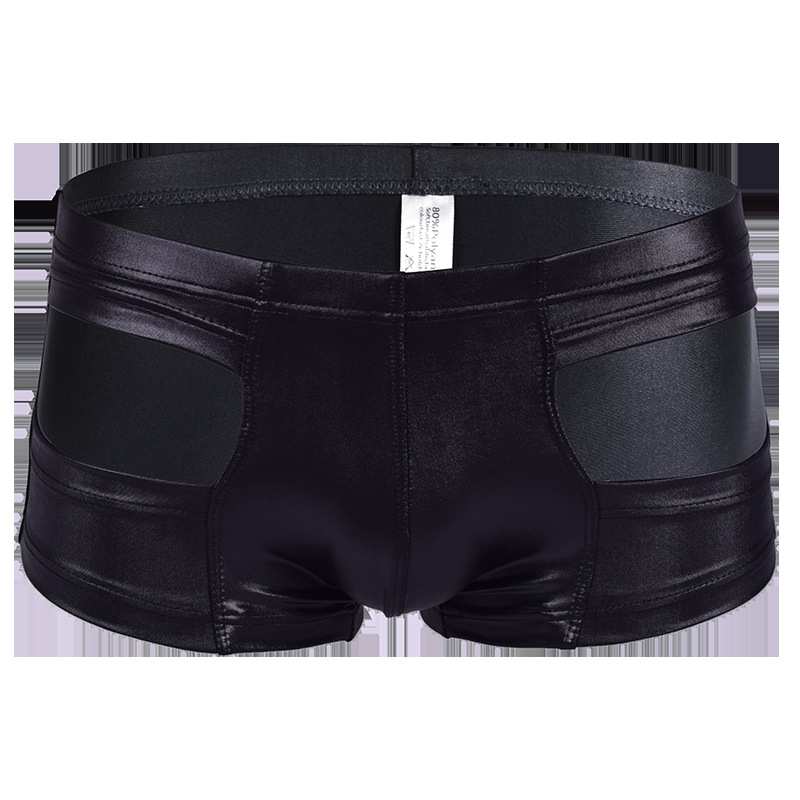 <font><b>Sexy</b></font> U Convex Pouch Faux <font><b>Leather</b></font> Boxers Breatherable Boxer Shorts Sheathy Cool Male <font><b>Gay</b></font> Wear <font><b>Underwear</b></font> U Pouch Erotic Lingerie image