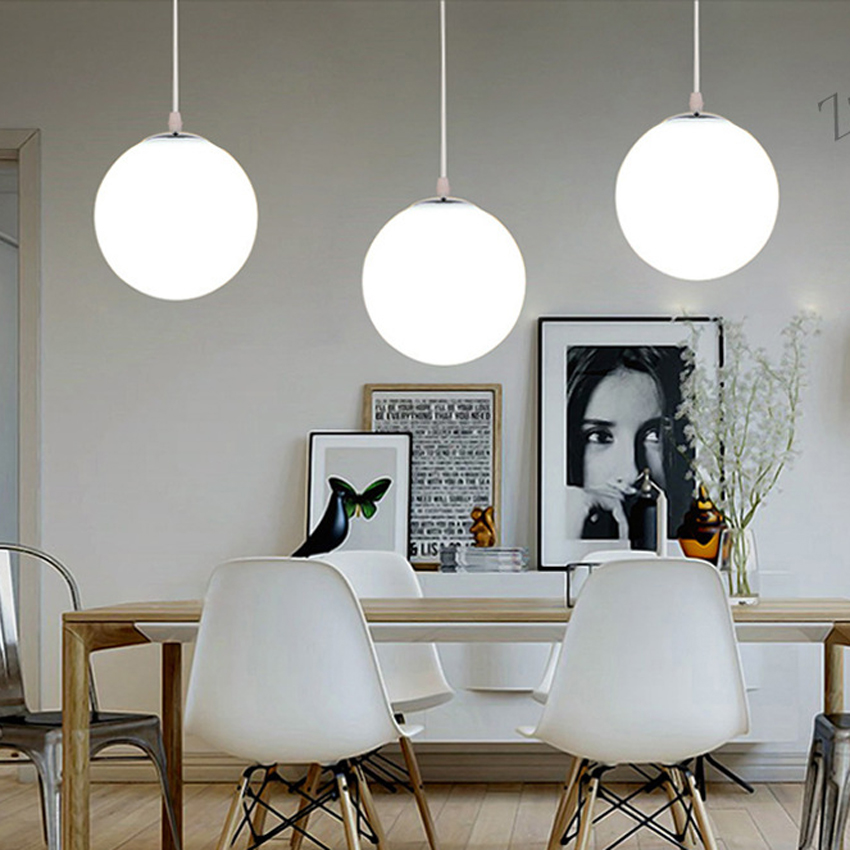 Nordic Globe Pendant Lights dia 30 35cm White Glass Ball led Suspension lamp living room dining