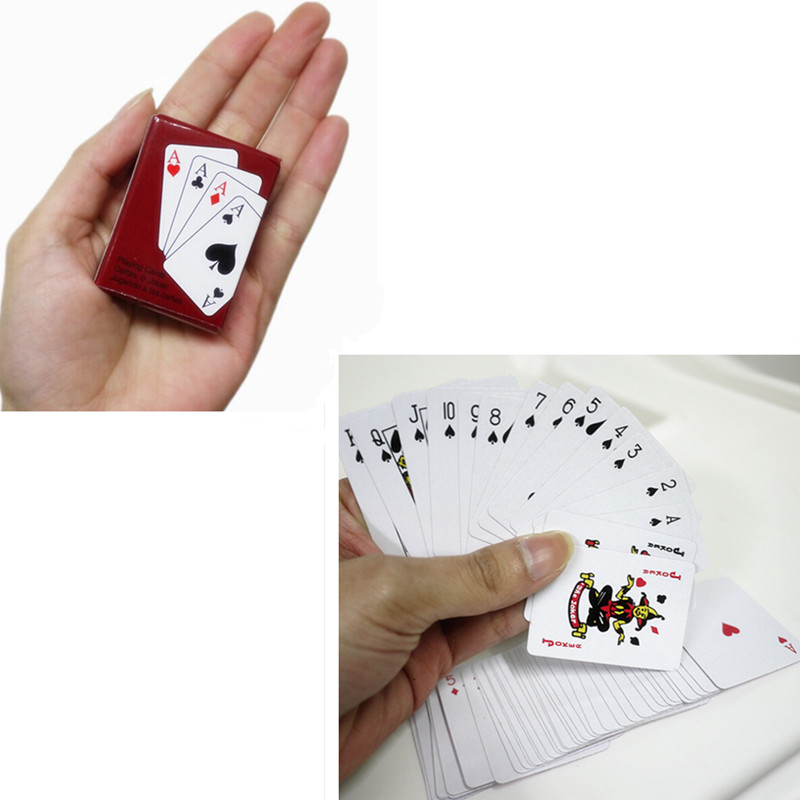5.3 x 3.8 cm Playing Poker Cards Portable Mini Small Poker funny Playing Card Board Game Outside Outdoor Travel Mini Size Pokers