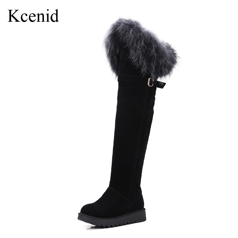 Kcenid Plus size 43 fashion buckle strap over the knee boots real fox fur snow boots winter platform boots women keep warm shoes fashion keep warm winter women boots snow boots 2017 buckle cotton boots women boots shoes