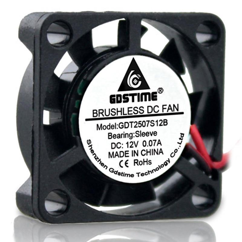 10Pcs Gdstime 2Pin 2507 2 5cm 25x25x7mm 25mm DC 12V Micro Cooler Cooling Fans Cooler Brushless Chipset Heatsink Mini Cooling Fan in Fans Cooling from Computer Office