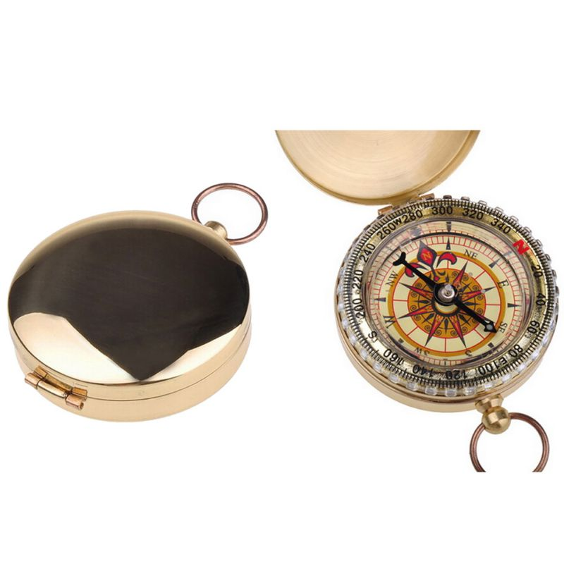 Camping Hiking Compass Portable Brass Pocket Golden Compass Navigation For Outdoor Activities Pointing Guide