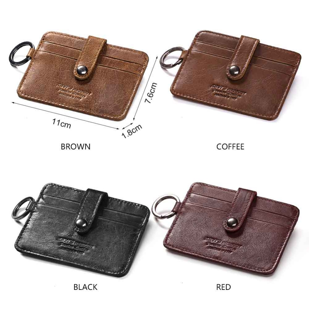 KAVIS Fashion Leather Credit Card Wallet Hasp Men Credit ID Card Holder Small Wallet Slim Thin Male Mini Walet clamp for money