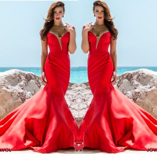 f54df9964a11e 2017 Sexy Prom Dresses Mermaid Red Sweetheart Satin Backless Long Formal  Evening Party Gowns Vestidos robes de bal