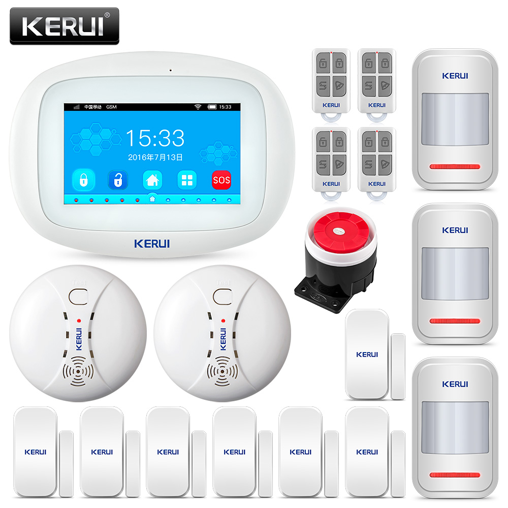 KERUI K52 Wifi GSM APP Control Alarm Set For Home Security GSM 4.3 Inch TFT Color Wireless Burglar Alarm System Smoke Detector-in Alarm System Kits from Security & Protection    1