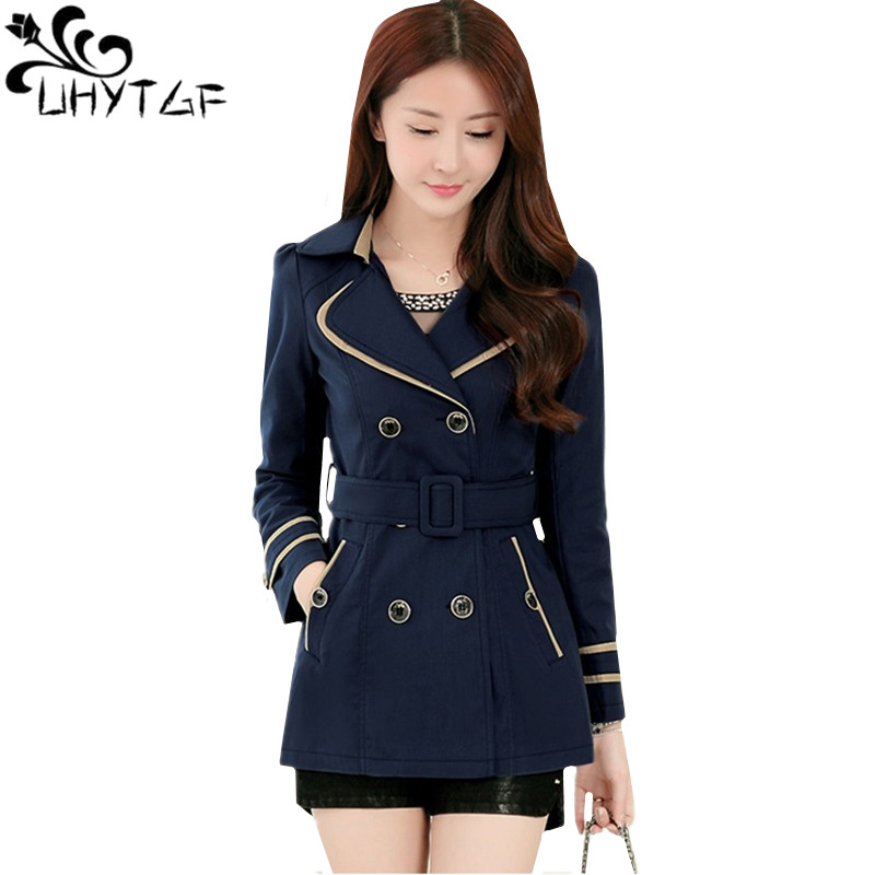 UHYTGF New Double-breasted Spring Autumn Jacket Women's Fashion Belt Slim Thin Short Outerwear Elegant Female Plus Size Coat 140