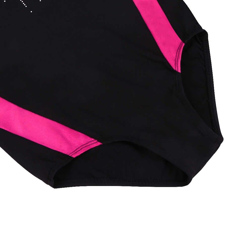 BAOHULU czarna róża z długim rękawem gimnastyka kostium małe dziewczynki pięcioramienna gwiazda błyszczące błyszczące diament trykot baletowy taniec nosić