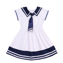 Kids Girls Summer Cotton 100% Striped Dresses for Children Sailor Collar Clothes Party Princess Dress 5-13 Years Old