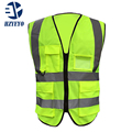 HZYEYO 4-pockets Ropa de Seguridad de alta visibilidad del tráfico adulto trabajador de sanidad chaleco de pesca chaleco reflectante de seguridad D9910