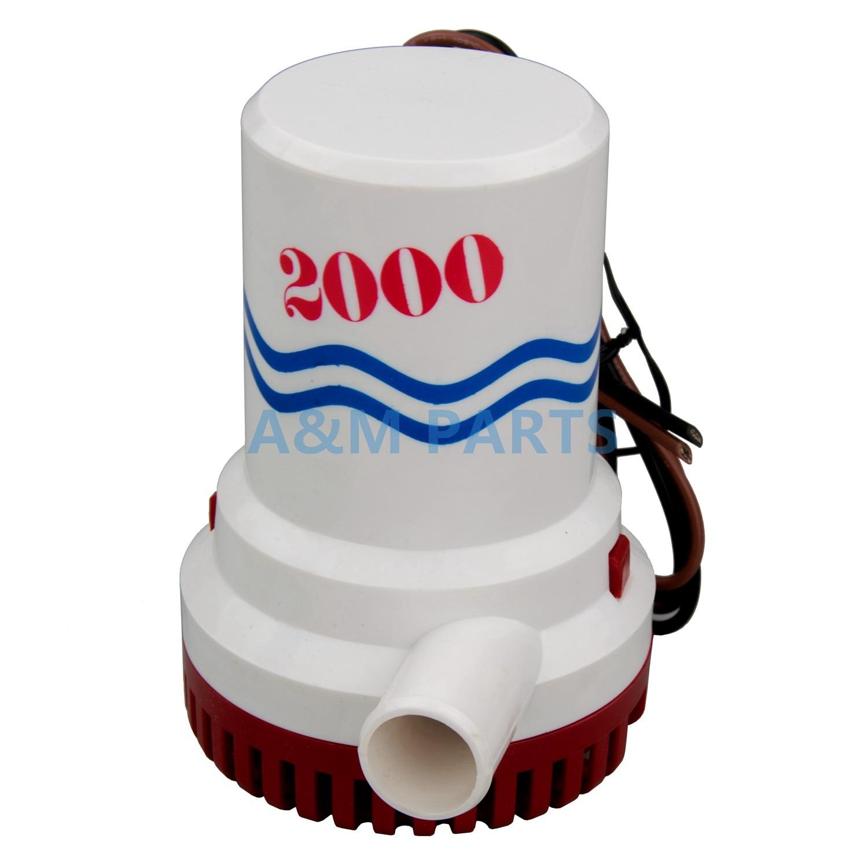 "Rule 10 Non-Automatic 12V Bilge Pump W// 1 1-8/"" Discharge 2000 GPH"