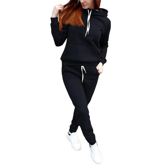 2020 Autumn Winter Two-piece Tracksuit Jogging Suits For Women Sport Suits Black Gray Hooded Running Set Sweat Pants Jogging Set 2