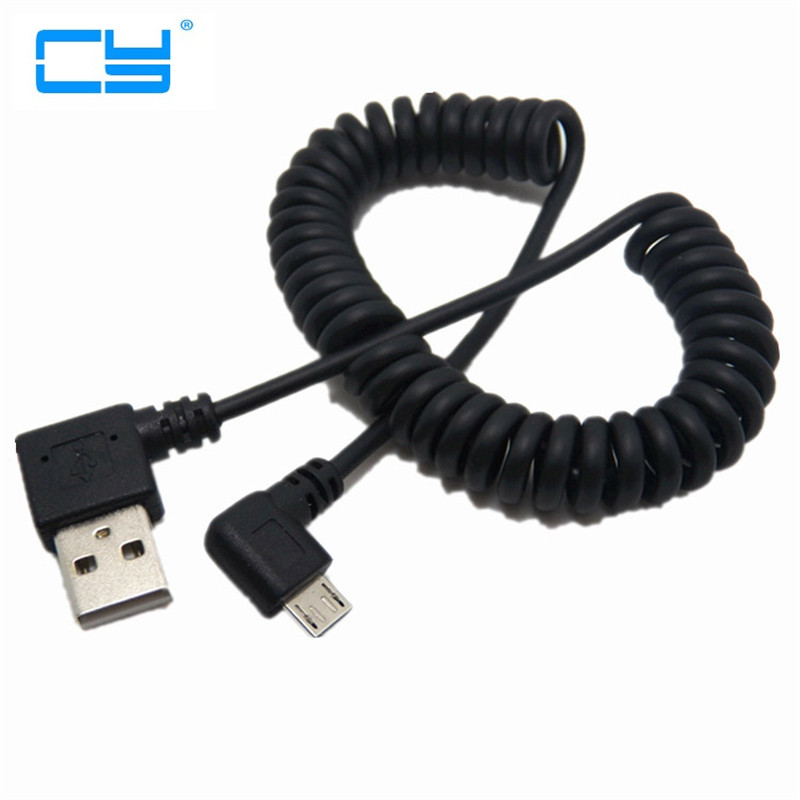 1m 90 degree USB Micro USB Angle Cable Charge USB to Micro USB Spring Retractable Cable Datos Data Sync Charger Cord Coiled Cabo