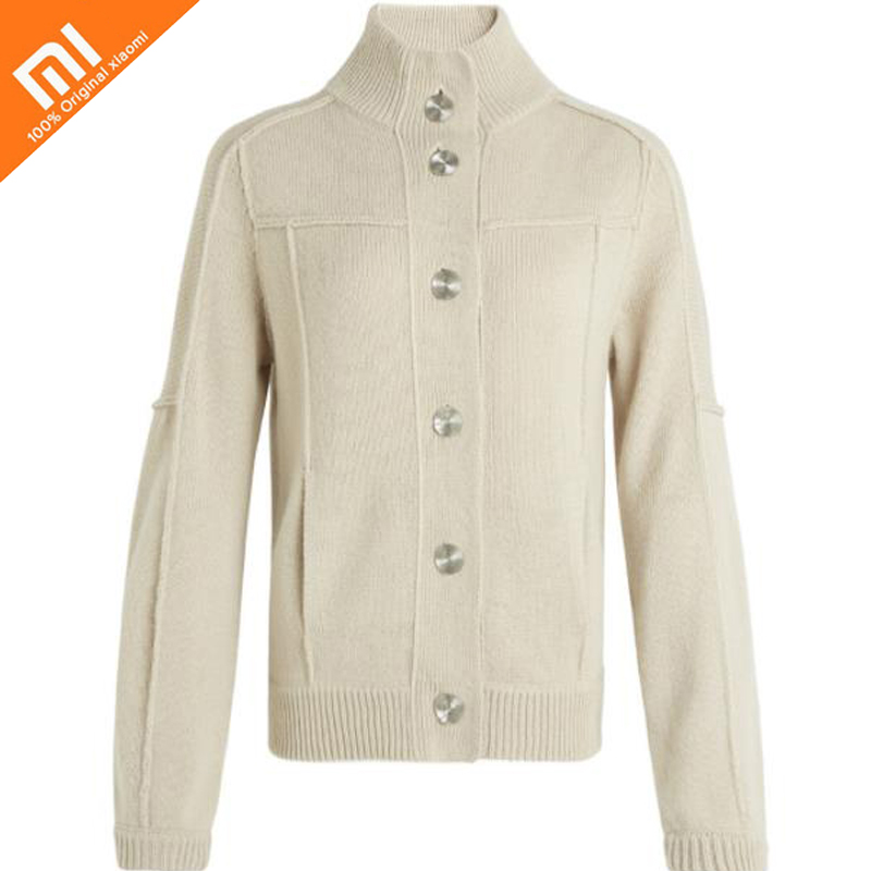 Original xiaomi mijia 10:07 casual patchwork knit cardigan loose sweater women's cardigan loose knit scalloped hem dolman jumper