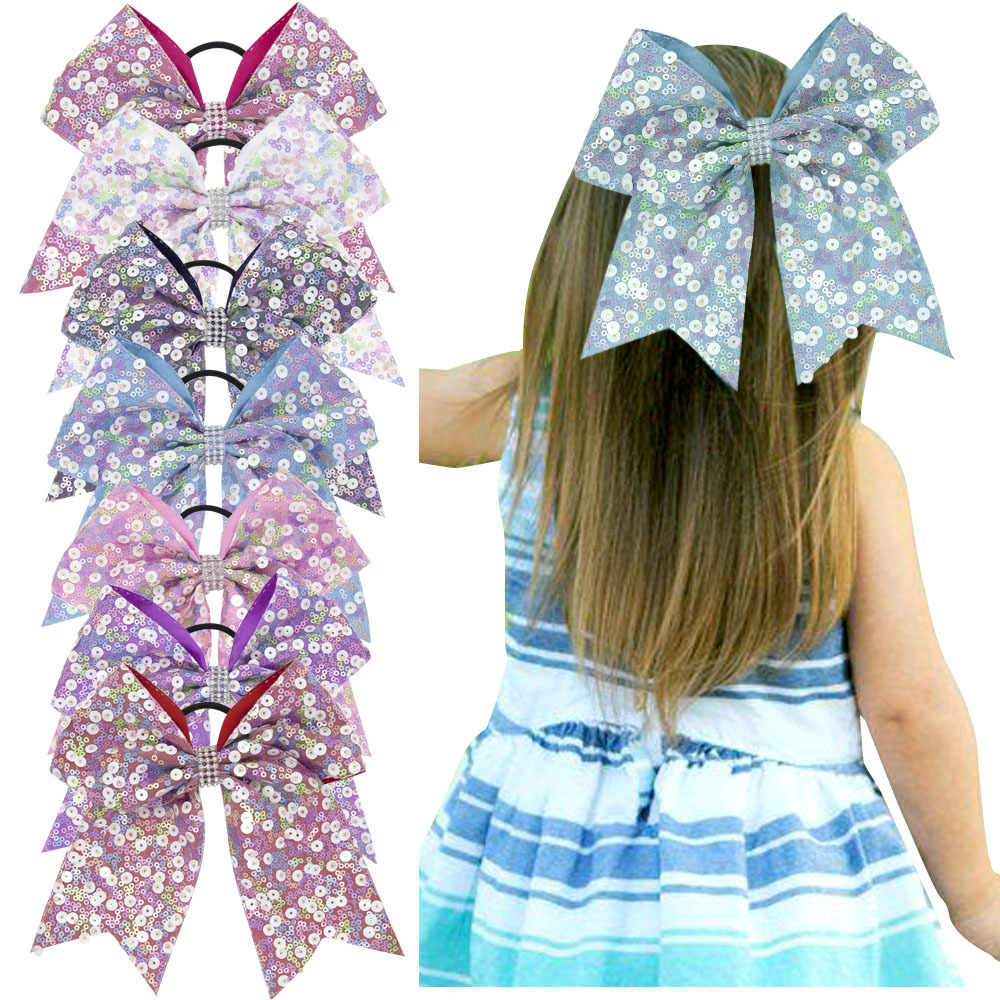7 Inches Girls Cheer Bows Scrunchies Woman Hair Ties Rubber Rope Bowknot Boutique Ponytail Holders Dance Elastique Cheveux