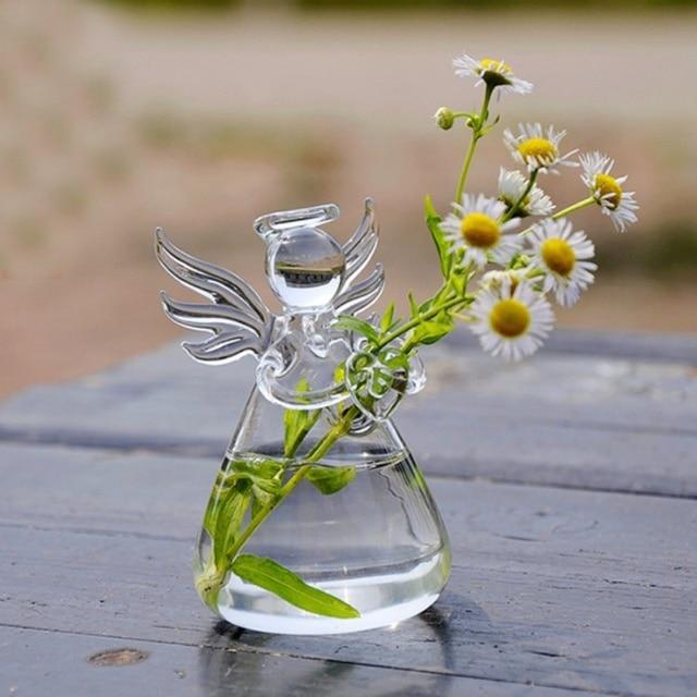Diy Clear Angel Glass Hanging Vase Bottle Terrarium Hydroponic
