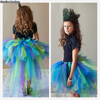 Peacock Bird Bustle Girl Tutu Skirt Newborn Baby Mardi Gras Birthday Party Skirt Halloween Costume For 1 14Y With Headband 2018