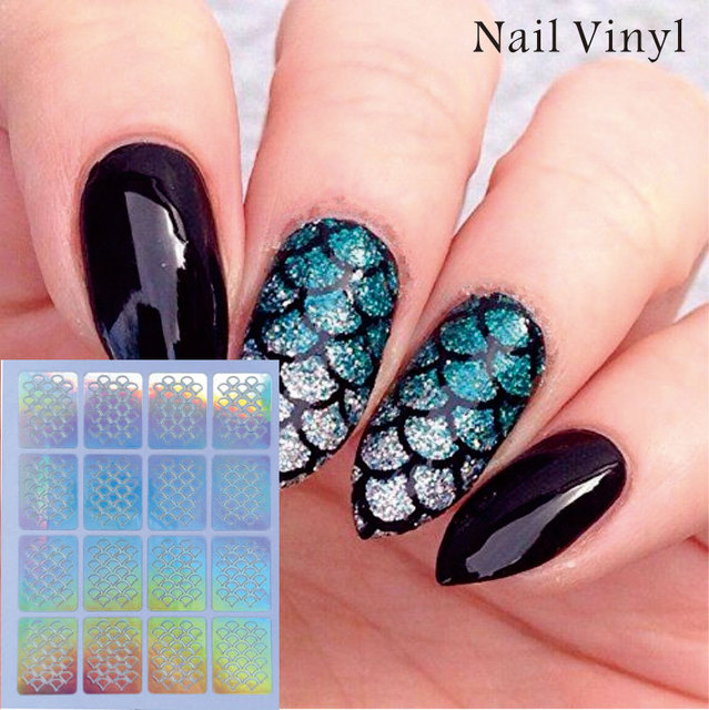 1 sheet nail vinyl stencil fish scale manicure stencil non hollow 1 sheet nail vinyl stencil fish scale manicure stencil non hollow out nail art stencils prinsesfo Choice Image