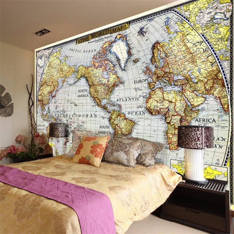 beibehang Photo wallpaper quality flash silver cloth / European retro navigation map world map large mural papel de parede 3d