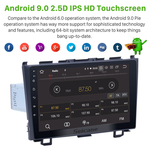 Seicane-GPS Navi One 1Din | Android 9.0 HD, 9