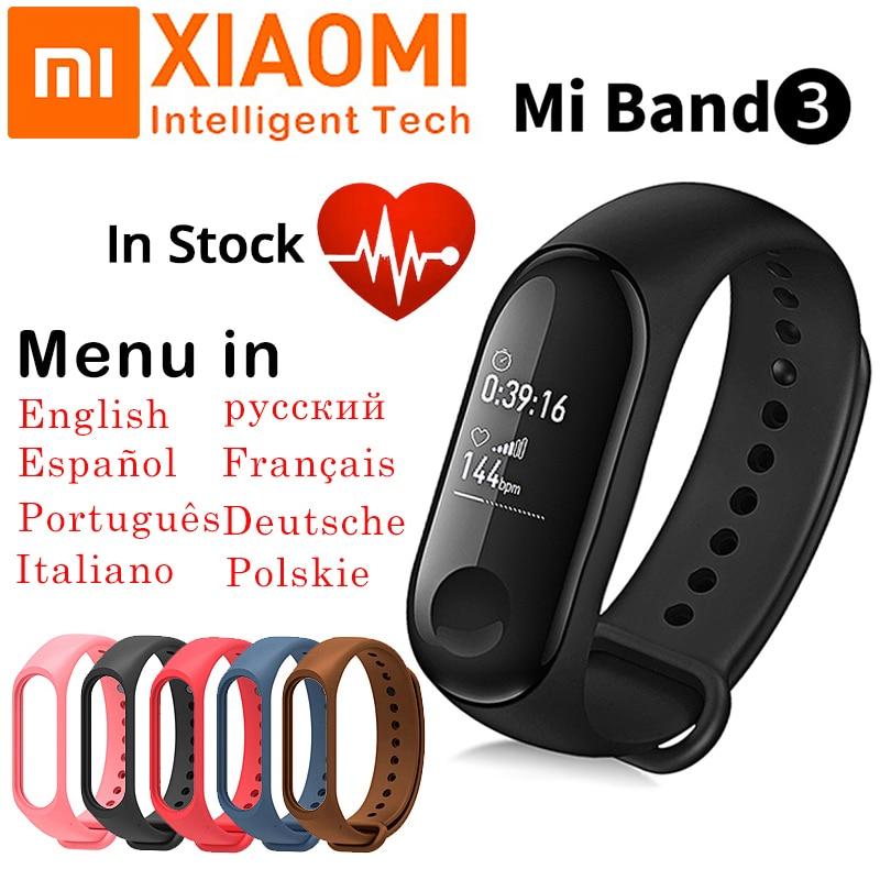 Rastreador de fitness Xiao mi mi Banda 3 Inteligente Banda Esporte Freqüência Cardíaca Pulseira Smartband OLED Inteligente Pulseira Inteligente Para Android IOS