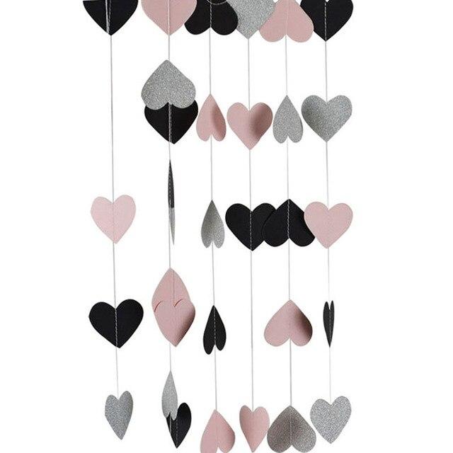 3 meter Sparkle Hart Papier Guirlande Hart String Vlag Gordijn Kwasten Bruiloft Verjaardag Baby Shower Partij Decoratie Benodigdheden 1