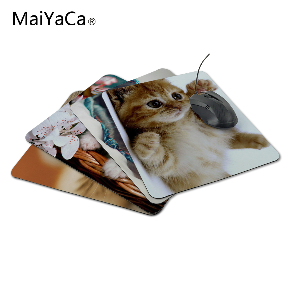 MaiYaCa New Square Cats Kittens White Background Silicon Mouse բարձիկներ 220mmX180mmx2mm Mat մկների պահոց