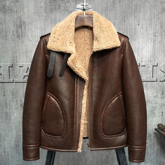 07f0e12aa14 Original B3 Jacket Men s Shearling Leather Jacket Flying Jacket Men s Fur  Coat Aviation Leathercraft Pilots Coat WZS010