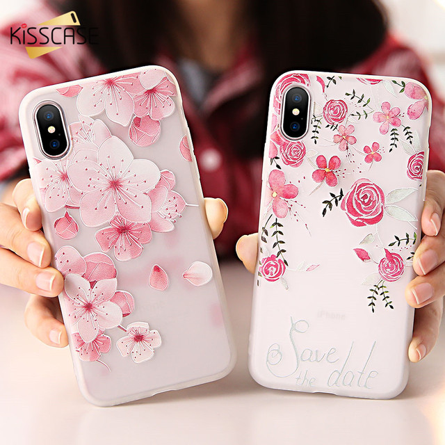 newest b3e15 caa7b US $1.99 50% OFF For iPhone X Case,KISSCASE Colorful Floral Case For iPhone  7 8 Plus Case Girl 3D Relief Soft Cover For iPhone 5 5s SE 6 6S Plus -in ...