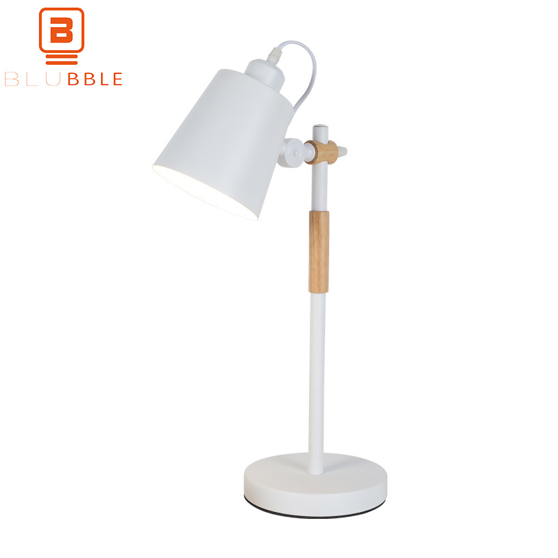 BLUBBLE Eye Protection Table Lamp Northern Europe Rocker Arm Bedroom Desk Lamp AC 90-260V Study Iron LED Bulbs Bedside Lamp xiaomi smart desk lamp second generation led eye protection college students bedroom study desk bedside lamp