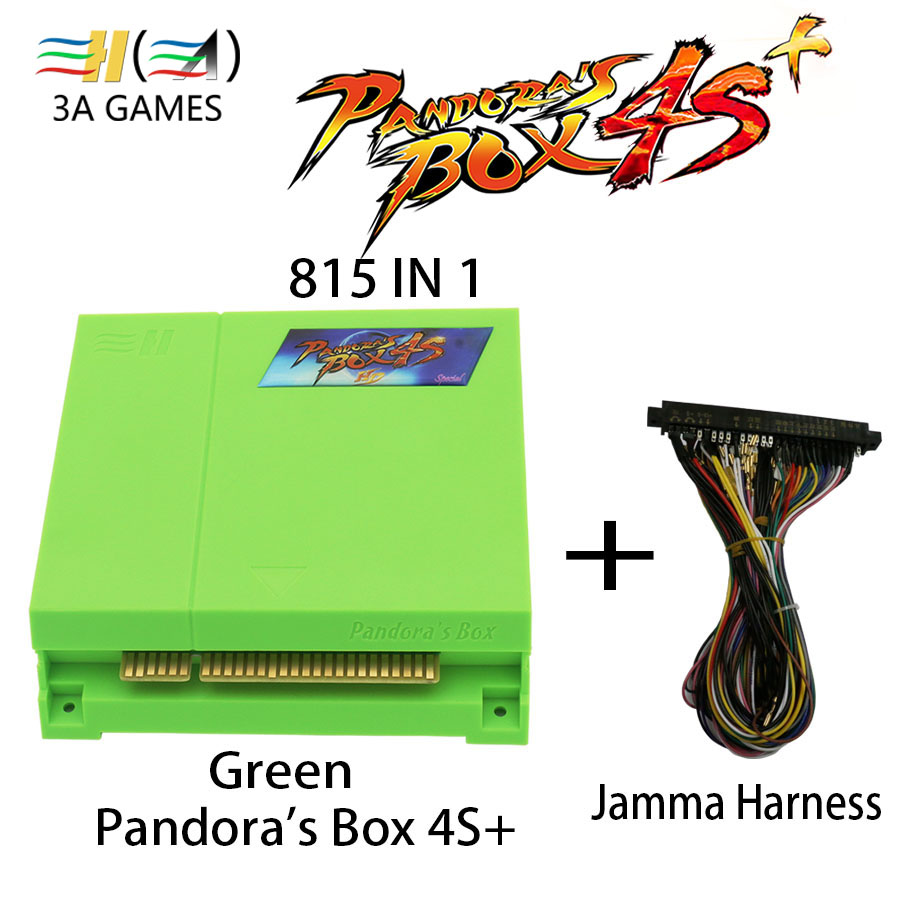 Pandora's box 4S plus 815 in 1 Pandora box 4S+ jamma For HDMI VGA video arcade machine cabinet vending machine pandora box4 3 hdmi vga pandora box 4s arcade game board 815 in 1 with 28 pin harness for arcade mechine diy arcade kit