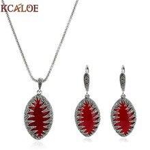 4d9fe08be15d KCALOE pendientes Vintage colgante collar joyería conjunto piedra roja Color  plata antigua negro Cristal Diamantes de imitación .