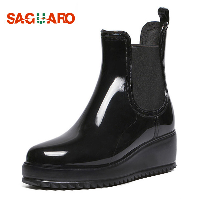 SAGUARO Women Ankle Boots Female Fashion PVC Waterproof Rainboot Short Elastic Band Flat Rubber Boots for Women Botas Mujer цены
