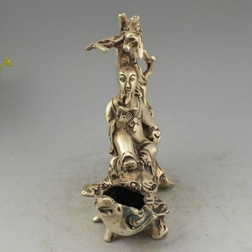 Украшенный Китай Серебро ручной работы MIAO Elder Read On Tree филиал статуя - 3