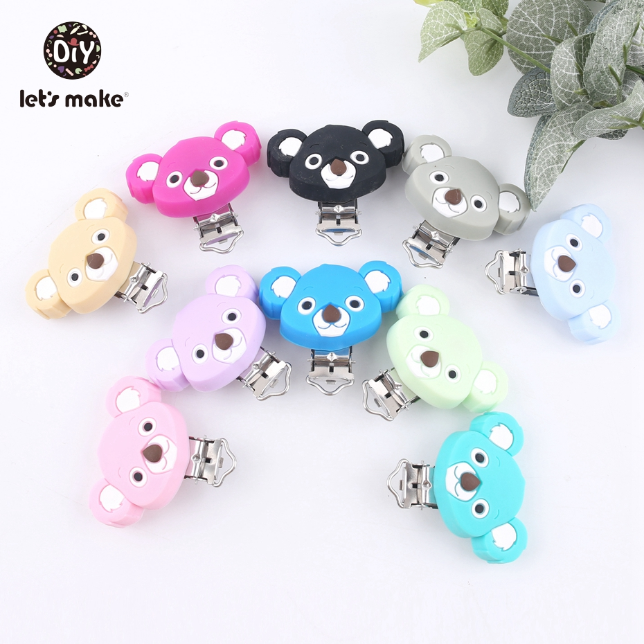 Let's Make 10PC Teething Pacifier Infant Holder Clip Colorful Koala Shape Baby Silicone Teether Lovely Nursing Baby Dummy Clips