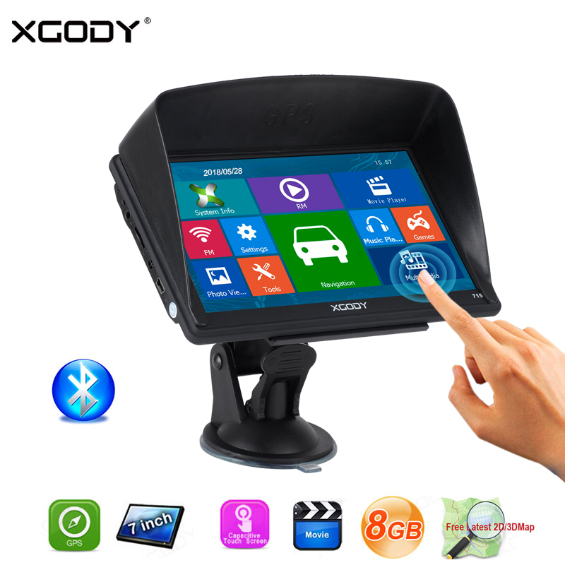 XGODY Reverse-Camera Bluetooth Navigation Truck Gps Touch-Screen Sat Nav Capacitive 8GB