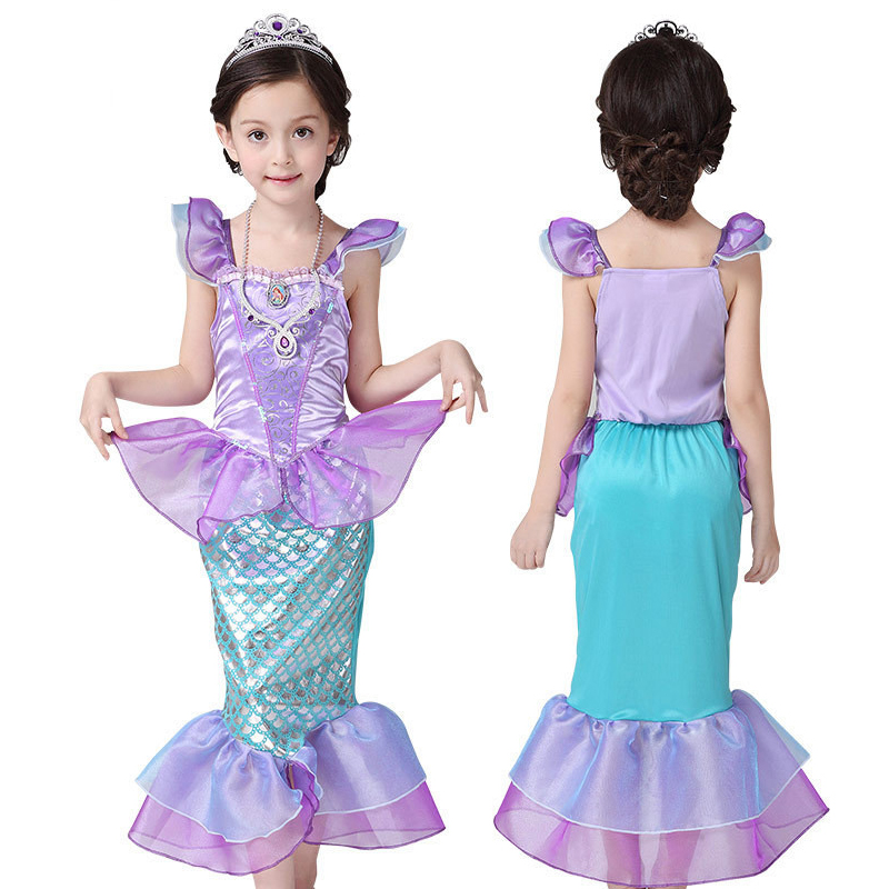 Girls Dress The Little Mermaid Halloween Cosplay Costume for Kids Mermaid Tail Baby Dresses Fancy Ariel Princess Party Clothes 4pcs gothic halloween artificial devil vampire teeth cosplay prop for fancy ball party show