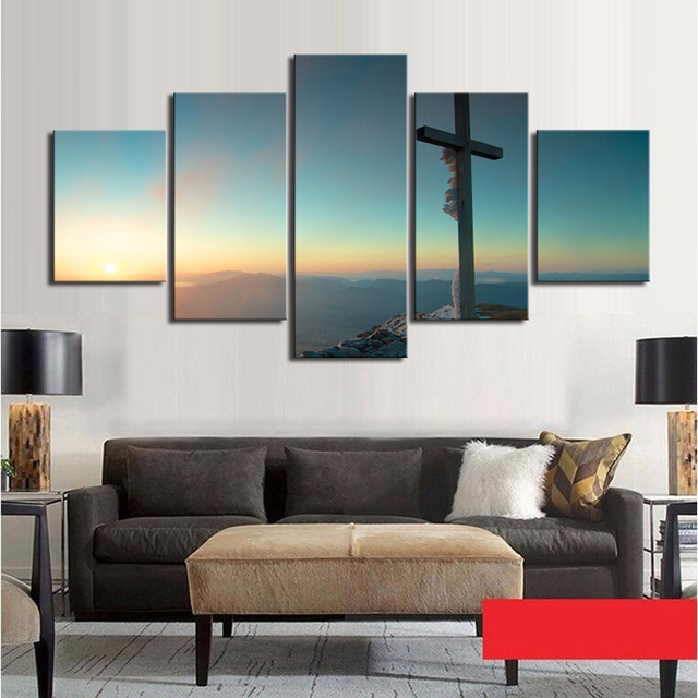 5 Piece Canvas Art Set Cross Canvas Wall Art Picture Prints Frame Oil Painting for Living