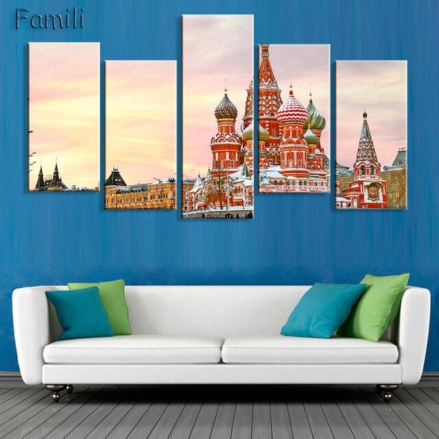 5 Stücke Wohnzimmer Home Wand Moderne Kunst Dekoration Stoff Poster St  Petersburg Russland Russisch Stadt Landschaft