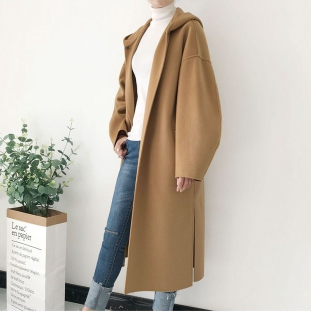 2018 סתיו וחורף נשים אופנה צמר מעיל תערובות