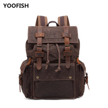 YOOFISH  Fashion Brand Backpack Canvas Backpacks Male School Bag Laptop Backpack Waterproof Travel Backpack Unisex free shipping цены