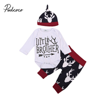 Christmas Kids Boy Outfits Set Newborn Infant Baby Boy Xmas Romper+Long Pants Hat 3pcs Cotton Outfits Set Clothes Autumn