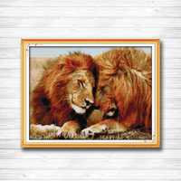 Accompanying lion mascot animal DIY Painting Counted Printed on canvas DMC 14CT 11CT Cross Stitch Needlework Kits Embroidery Set