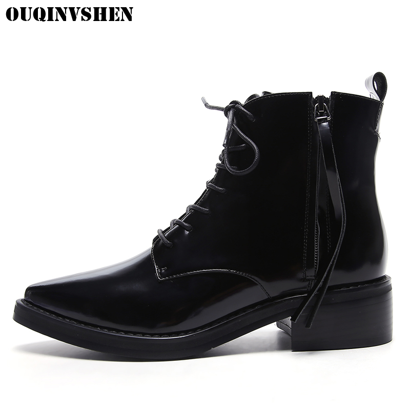 OUQINVSHEN Pointed Toe Square heel Women Boots Zipper Cross Tied Ankle Boots 2017 Casual Fashion Winter Low Heels Women's Boots berdecia hollow out ankle round toe women boots low square heels cross tied female shoes elegant riding equeatrian women boots