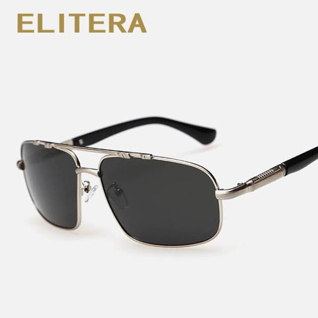 ELITERA Nova Moda de Alta Qualidade do Metal do Retângulo do Quadro Lente Polarizada Homens Óculos de Sol Masculino Óculos de Condução óculos de Sol Óculos de Esportes Ao Ar Livre