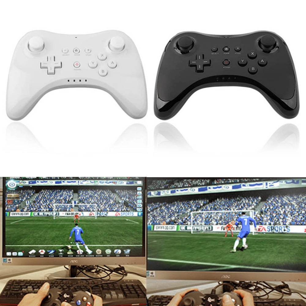 Dual Analog Bluetooth Wireless Remote Controller USB U Pro Game Gaming Gamepad for for Nintendo Wii U Black White With USB Cable black classic wired controller gamepad for nintendo wii wii u retail packed