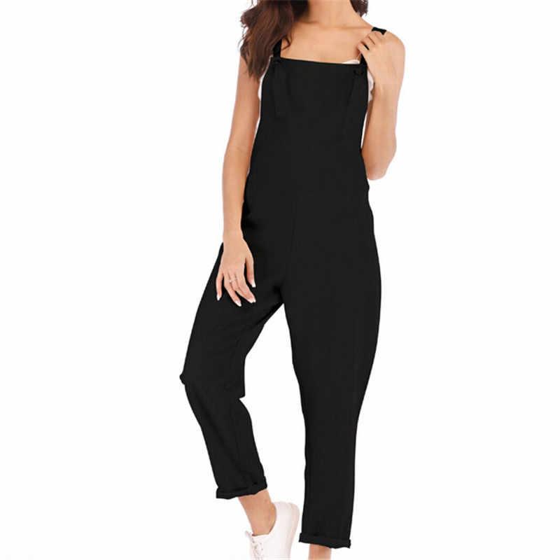 2019 mujeres sin mangas Boho mono Romper verano vacaciones diario sólido mono moda señora Sexy Clubwear pantalones de pierna ancha trajes